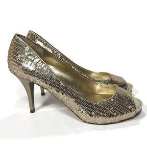 NEW Women's GUESS Sequins Gold Heels